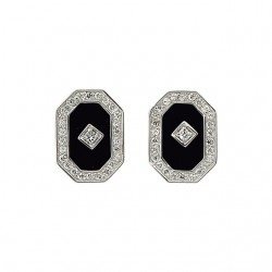 Onyx & Cubic Zirconia Earrings