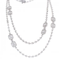 18Kt White Gold Diamond Gemstone Necklace