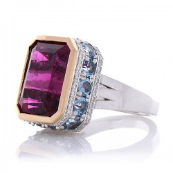 18Kt White Gold Rubelite Gemstone Ring