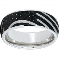 Serinium® Domed Band with American Flag Laser Engraving