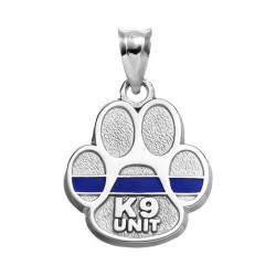 "STERLING SILVER PAW WITH ""K9 UNIT"" AND THIN ENAMEL BLUE LINE"
