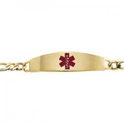 Engravable Medical ID Bracelet with Red Enamel