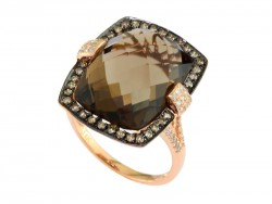 EFFY 14K Rose Gold Diamond Smoky Quartz Brown Diamond Ring