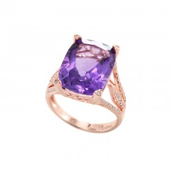 EFFY 14K Rose Gold Diamond Amethyst Ring
