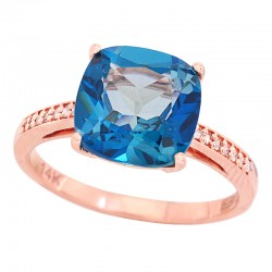 EFFY 14K Rose Gold Diamond London Blue Ring