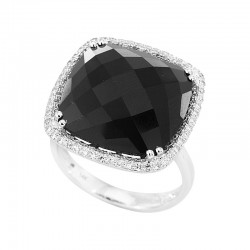 EFFY 14K White Gold Diamond Onyx Ring