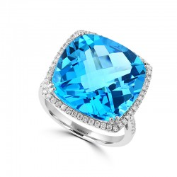 EFFY 14K White Gold Diamond Blue Topaz Ring