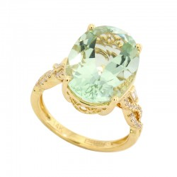 EFFY 14K Yellow Gold Diamond Green Amethyst Ring