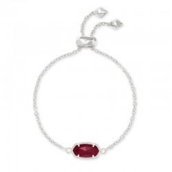 Elaina Maroon Jade Rhodium Bracelet
