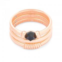Ellms Black Granite Rose Tone Ring Size 8