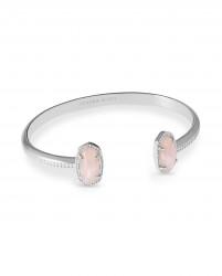 Elton Rose Quartz Rhodium Bracelet