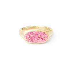 Mel Hot Pink Opal Gold Tone Ring Size 6