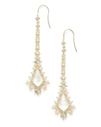 Reimer Ivory Mother Of Pearl Cz Gold Tone Earrings