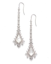 Reimer Ivory Mother Of Pearl Cz Rhodium Earrings