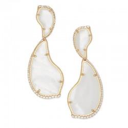 Teddi Ivory Mother Of Pearl Cz Gold Tone Earrings