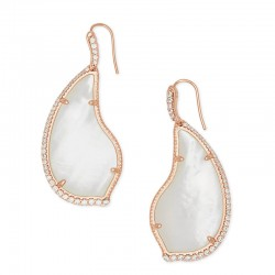 Tinley Ivory Mother Of Pearl Cz Rose Tone Earrings