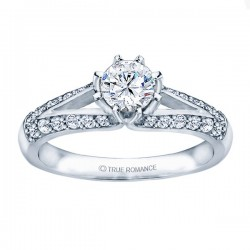 Me677 -14k White Gold Classic Semi Mount Engagement Ring