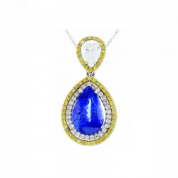 18Kt White Gold Tanzanite Gemstone Necklace