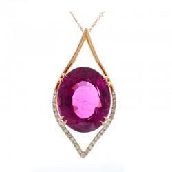 18Kt Rose Gold Tourmaline Gemstone Necklace