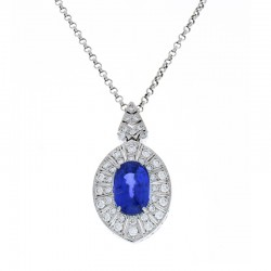 14Kt Platinum Sapphire Gemstone Necklace