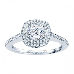 Rm1025-14k White Gold Round Cut Double Halo Diamond Semi Mount Engagement Ring