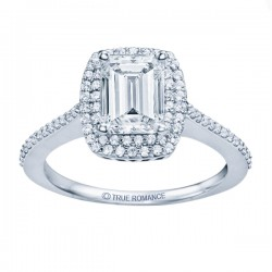 14k White Gold Emerald Cut Double Halo Diamond Semi Mount Engagement Ring