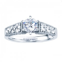 Rm1120-14k White Gold Vintage Engagement Ring