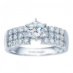 Rm1135-14k White Gold Classic Semi Mount Engagement Ring
