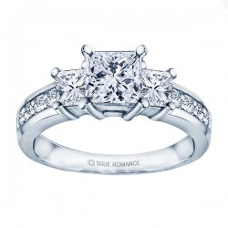 Rm1193 -14k White Gold Classic Semi Mount Engagement Ring