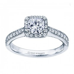 Rm1271-14k White Gold Princess Cut Halo Diamond Semi Mount Engagement Ring