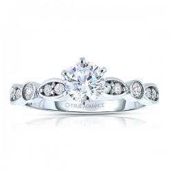 Rm1292 -14k White Gold Round Cut Diamond Infinity Semi Mount Engagement Ring