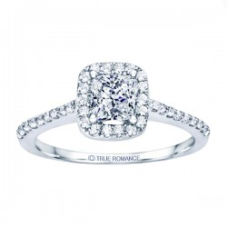 Rm1301p-14k White Gold Princess Cut Halo Diamond Semi Mount Engagement Ring