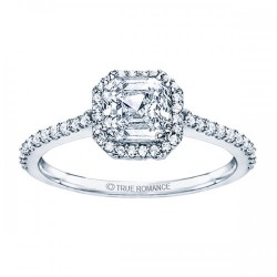 Rm1309-14k White Gold Cushion Cut Halo Diamond Semi Mount Engagement Ring