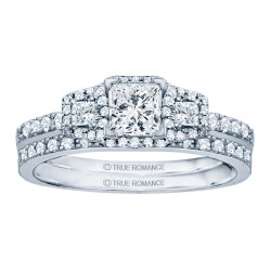 Rm1315-14k White Gold Princess Cut Halo Diamond Semi Mount Engagement Ring