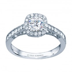 Rm1319r -14k White Gold Round Cut Halo Diamond Vintage Semi Mount Engagement Ring