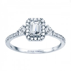 Rm1345e-14k White Gold Emerald Cut Halo Diamond Semi Mount Engagement Ring
