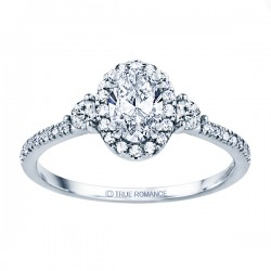 Rm1345v-14k White Gold Oval Cut Halo Diamond Semi Mount Engagement Ring