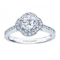 Rm1347-14k White Gold Round Cut Halo Diamond Semi Mount Engagement Ring