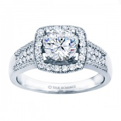 Rm1375-14k White Gold Halo Semi Mount Engagement Ring