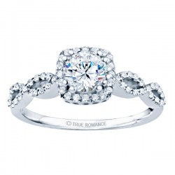 Rm1390-14k White Gold Round Cut Halo Diamond Infinity Semi Mount Engagement Ring