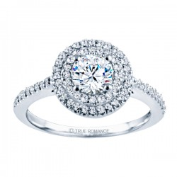 Rm1394-14k White Gold Halo Semi Mount Engagement Ring
