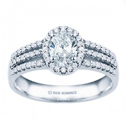 Rm1394v-14k White Gold Halo Semi Mount Engagement Ring