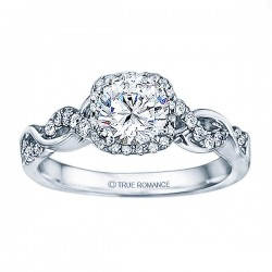 Rm1405 -14k White Gold Round Cut Halo Diamond Infinity Semi Mount Engagement Ring