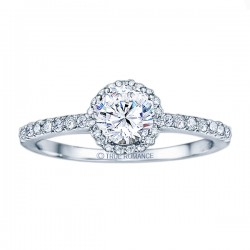Rm1408-14k White Gold Round Cut Halo Diamond Semi Mount Engagement Ring