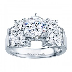 Rm387-14k White Gold Classic Engagement Ring