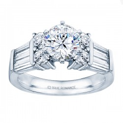 Rm509-14k White Gold Classic Semi Mount Engagement Ring