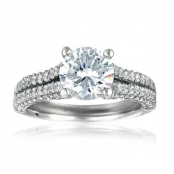 Rm996-14k White Gold Semi Mount Engagement Ring From Nostalgic Collection