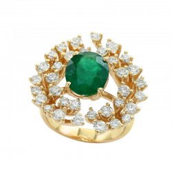 EFFY 14K Yellow Gold Diamond Natural Emerald Ring