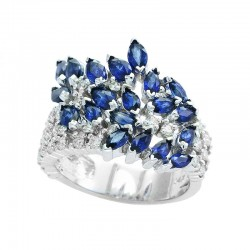EFFY 14K White Gold Diamond Natural Sapphire Ring