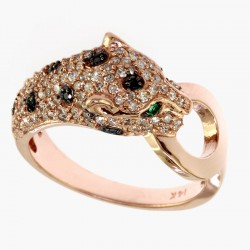 EFFY 14K Rose Gold Diamond Black Diamond Natural Emerald Ring